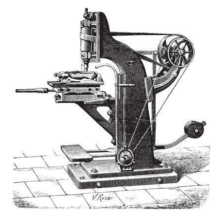 lathe: Shaping machine shoes, vintage engraved illustration. Industrial encyclopedia E.-O. Lami - 1875.