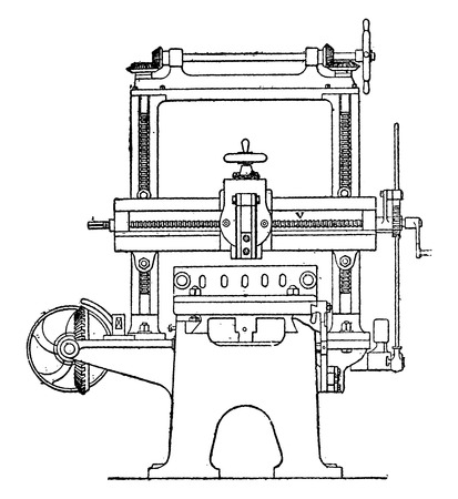engineering tool: Planer, Lateral view, vintage engraved illustration. Industrial encyclopedia E.-O. Lami - 1875. Illustration