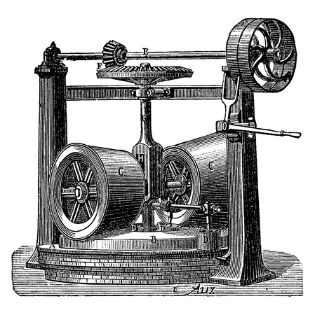 Walking machine dough, vintage engraved illustration. Industrial encyclopedia E.-O. Lami - 1875.