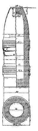 Projetiles has lead cords, vintage engraved illustration. Industrial encyclopedia E.-O. Lami - 1875. Ilustração