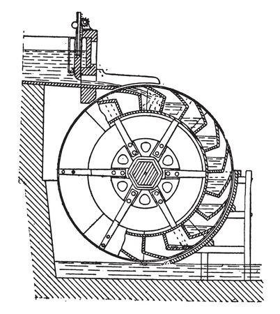 버킷 휠, 빈티지 새겨진 그림. 산업 백과 사전 E.-O. 라미 - 1875.
