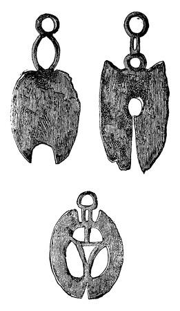 chaining: Gallic razors, vintage engraved illustration. Industrial encyclopedia E.-O. Lami - 1875. Illustration
