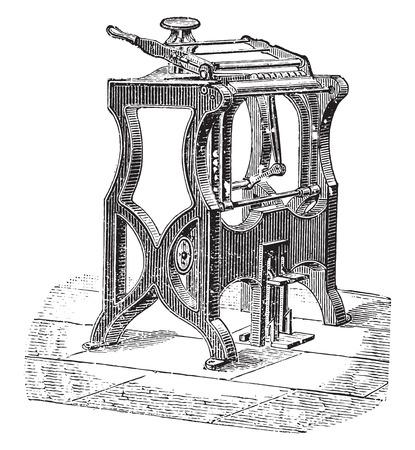 endorse: American machine to endorse, vintage engraved illustration. Industrial encyclopedia E.-O. Lami - 1875. Illustration
