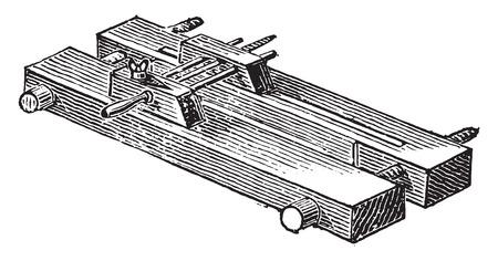 trimming: Wooden press for trimming, vintage engraved illustration. Industrial encyclopedia E.-O. Lami - 1875. Illustration