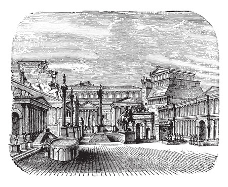 Restoring a forum, vintage engraved illustration. Industrial encyclopedia E.-O. Lami - 1875.