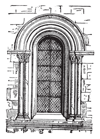 arch: Window to Our Lady of Chalons, vintage engraved illustration. Industrial encyclopedia E.-O. Lami - 1875. Illustration