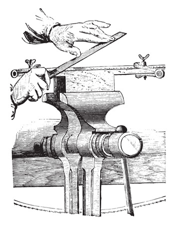 shaping: Thinning of the solder, vintage engraved illustration. Industrial encyclopedia E.-O. Lami - 1875. Illustration