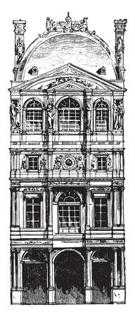 pierre: Pavillon Louvre by Pierre Lescot, vintage engraved illustration. Industrial encyclopedia E.-O. Lami - 1875.