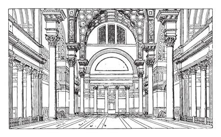Hall of the Baths of Caracalla, vintage engraved illustration. Industrial encyclopedia E.-O. Lami - 1875.