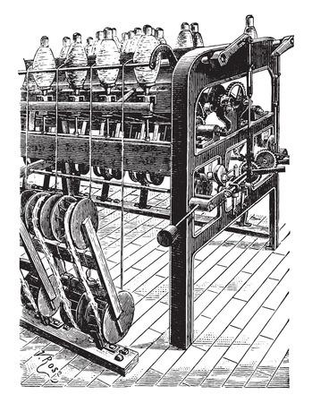 textiles: Reel spinners, vintage engraved illustration. Industrial encyclopedia E.-O. Lami - 1875.