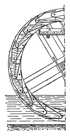 fixed: Vertical half-section of a fixed wheel-lifting buckets, vintage engraved illustration. Industrial encyclopedia E.-O. Lami - 1875. Illustration