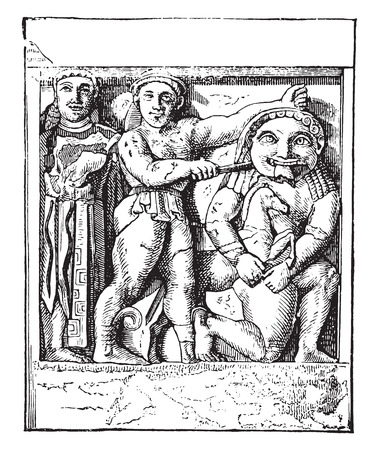 execution: Metope in Selinunte, Palermo Museum, vintage engraved illustration. Industrial encyclopedia E.-O. Lami - 1875.