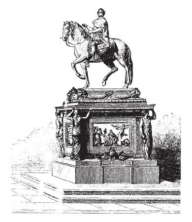 louis: Statue of Louis XV, Bouchardon, erected on the Place de la Concorde, vintage engraved illustration. Industrial encyclopedia E.-O. Lami - 1875. Illustration