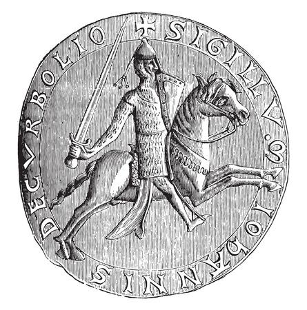 archiv: Seal of John, Lord von Corbeil, 1196 (National Archives), Jahrgang gravierte Darstellung. Industrielle Enzyklop�die E.-O. Lami - 1875.