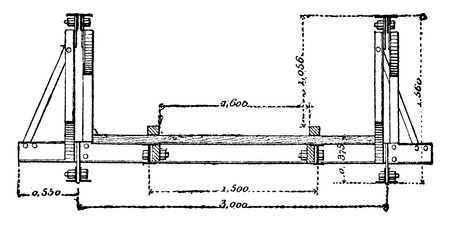 Sectional across a portable bridge, vintage engraved illustration. Industrial encyclopedia E.-O. Lami - 1875. Ilustração