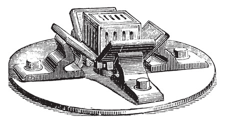 black mold: Open mold to receive the soap stamping, vintage engraved illustration. Industrial encyclopedia E.-O. Lami - 1875.