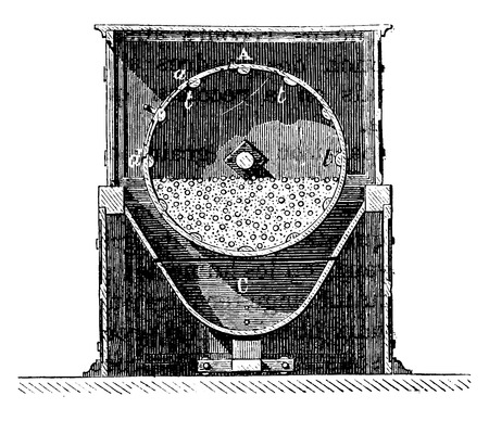 antique factory: Tonne mixer, Axis of rotation, vintage engraved illustration. Industrial encyclopedia E.-O. Lami - 1875.
