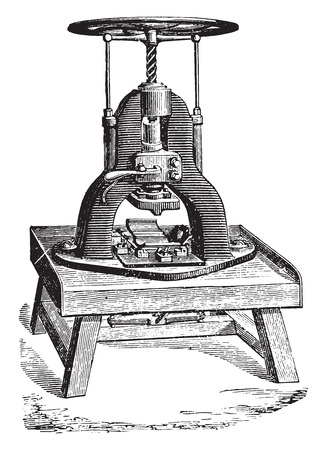industrial machine: Stamping machine soap bars, vintage engraved illustration. Industrial encyclopedia E.-O. Lami - 1875.