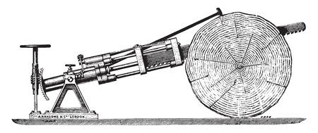 crosscut: Crosscut saw, vintage engraved illustration. Industrial encyclopedia E.-O. Lami - 1875. Illustration