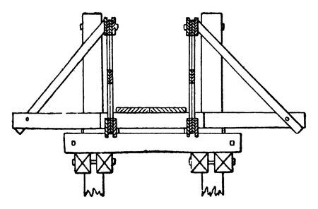 Dwarsdoorsnede van de brug van Pont Saint-Michel, vintage gegraveerde illustratie. Industriële encyclopedie E.-O. Lami - 1875. Stock Illustratie