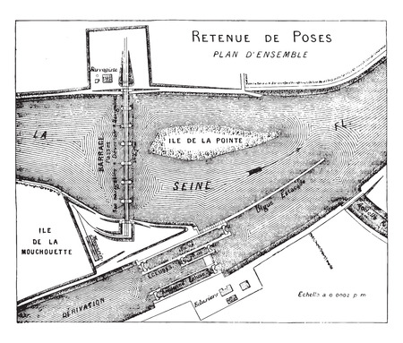 reservoir: Map showing the composition of the works of a reservoir, vintage engraved illustration. Industrial encyclopedia E.-O. Lami - 1875. Illustration
