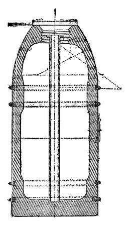 Projectile with copper cables, vintage engraved illustration. Industrial encyclopedia E.-O. Lami - 1875. Ilustração