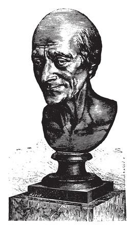 Popiersie Voltaire przez Houdon, vintage grawerowane ilustracji. Przemysłowe E.-O. encyklopedii Lami - 1875.