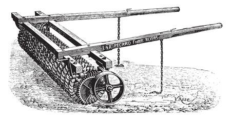 Crosskill roller has teeth hanging Pecard, vintage engraved illustration. Industrial encyclopedia E.-O. Lami - 1875. Stock Vector - 41778430