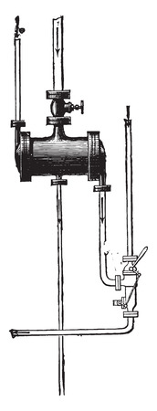 Overview of power heater and the injector, Koerting system, vintage engraved illustration. Industrial encyclopedia E.-O. Lami - 1875.