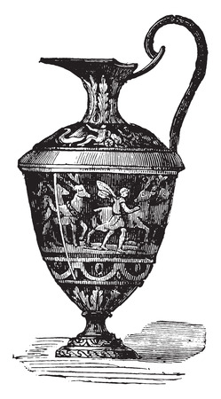 earthenware: Glazed ewer, vintage engraved illustration. Industrial encyclopedia E.-O. Lami - 1875.