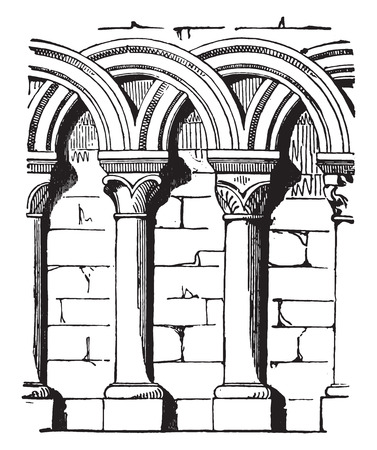 arcos de piedra: Perchas entrelazado, ilustración de la vendimia grabado. E.-O. enciclopedia Industrial Lami - 1875. Vectores
