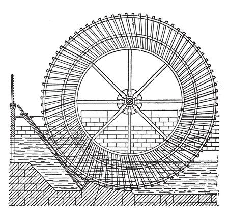 pulley: Sagebien wheel, vintage engraved illustration. Industrial encyclopedia E.-O. Lami - 1875. Illustration