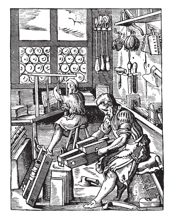 factory workers: Bindery, severe in the sixteenth century, vintage engraved illustration. Industrial encyclopedia E.-O. Lami - 1875.