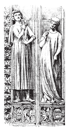 strasbourg: The south portal statues Strasbourg Cathedral, Late thirteenth century, vintage engraved illustration. Industrial encyclopedia E.-O. Lami - 1875.