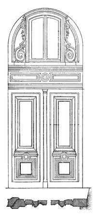 portone: Porta con soppalco, vintage illustrazione inciso. Enciclopedia Industrial E.-O. Lami - 1875.