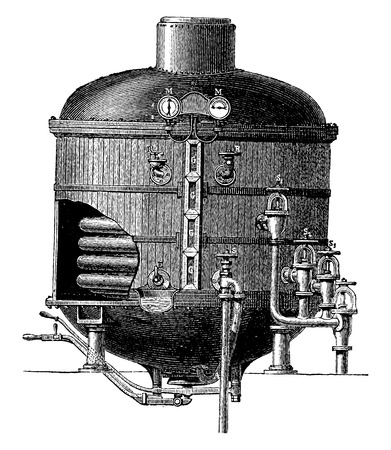 Cooking apparatus in a vacuum, vintage engraved illustration. Industrial encyclopedia E.-O. Lami - 1875. Ilustrace