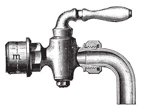 drain: Fitting drain tap, vintage engraved illustration. Industrial encyclopedia E.-O. Lami - 1875.