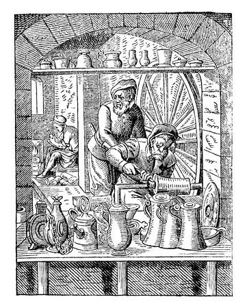 Workshop of potter tin (sixteenth century), vintage engraved illustration. Industrial encyclopedia E.-O. Lami - 1875.