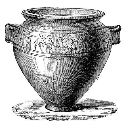 Vaso etrusco, vintage illustrazione inciso. Enciclopedia Industrial E.-O. Lami - 1875.