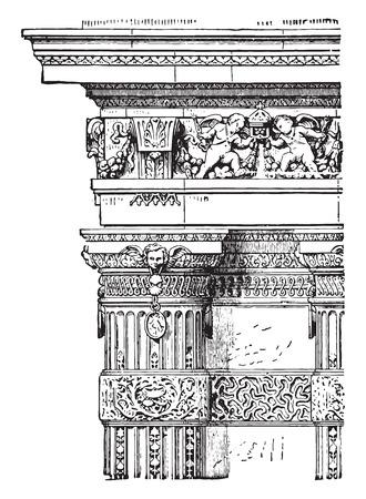 French column, vintage engraved illustration. Industrial encyclopedia E.-O. Lami - 1875. 向量圖像