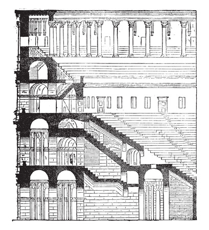 flavian: Section and elevation of the Colosseum, completed under Titus, vintage engraved illustration. Industrial encyclopedia E.-O. Lami - 1875. Illustration