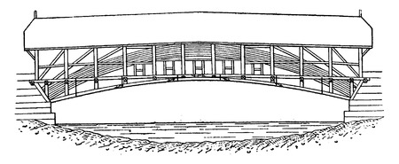Mellingen wooden bridge on the Reuss, vintage engraved illustration. Industrial encyclopedia E.-O. Lami - 1875.