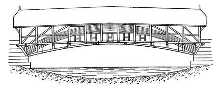 Mellingen puente de madera sobre el Reuss, cosecha ilustración grabada. E.-O. enciclopedia Industrial Lami - 1875. Ilustración de vector