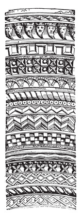 rafters: Romanesque ornaments, vintage engraved illustration. Industrial encyclopedia E.-O. Lami - 1875.