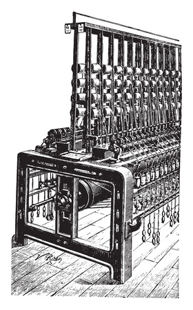 twisting: Twisting machine wing, vintage engraved illustration. Industrial encyclopedia E.-O. Lami - 1875.
