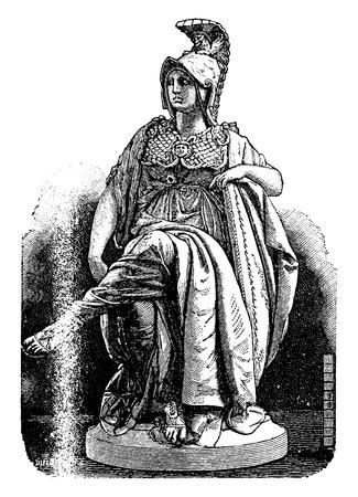 minerva: Minerva Carrier-Belleuse, Sevres porcelain, vintage engraved illustration. Industrial encyclopedia E.-O. Lami - 1875.