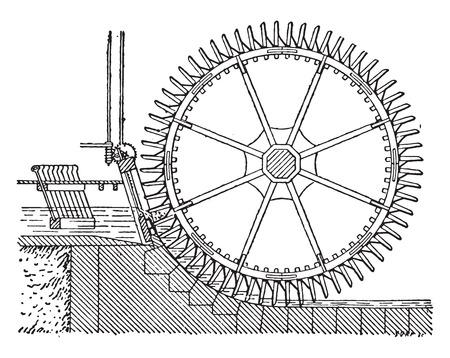 Wheel side, double winnowing, vintage engraved illustration. Industrial encyclopedia E.-O. Lami - 1875. Vettoriali