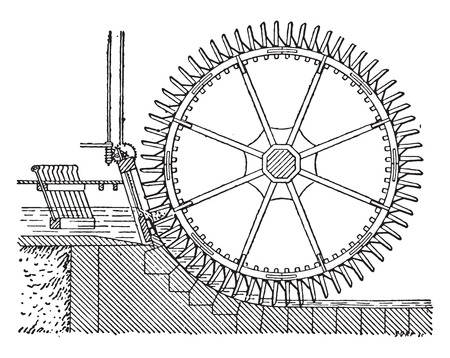 winnowing: Wheel side, double winnowing, vintage engraved illustration. Industrial encyclopedia E.-O. Lami - 1875. Illustration