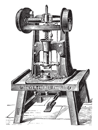 Automatic machine for stamping soap bars, vintage engraved illustration. Industrial encyclopedia E.-O. Lami - 1875.
