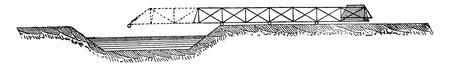 Jetting a portable bridge, vintage engraved illustration. Industrial encyclopedia E.-O. Lami - 1875. Ilustração